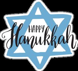Hand Written Happy Hanukkah Star Sticker