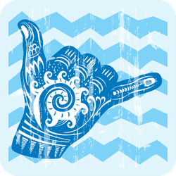 Hang Loose Hand Signal Surf Sticker