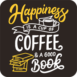 Happiness Is A Cup Coffee And A Good Book Sticker