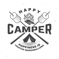 Happiness Is Toasted Marshmallows Camping Sticker