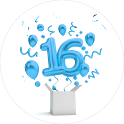 Happy 16th Birthday Blue Sticker