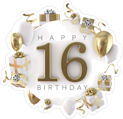 Happy 16th Birthday Party Sticker