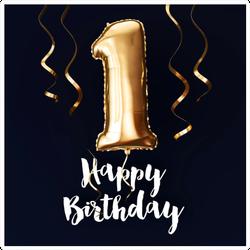Happy 1st Birthday Balloon Sticker