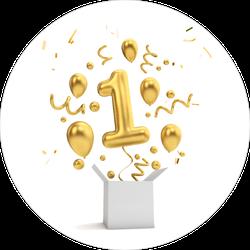 Happy 1st Birthday Gold Sticker
