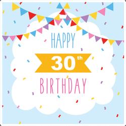 Happy 30th Birthday Banner Sticker