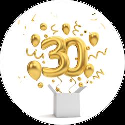 Happy 30th Birthday Gold Sticker