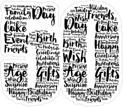 Happy 50th Word Collage Sticker
