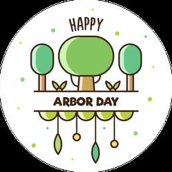Happy Arbor Day Cartoon Sticker
