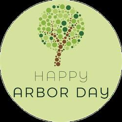 Happy Arbor Day Dot Art Sticker