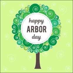 Happy Arbor Day On Tree Sticker