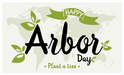 Happy Arbor Day On World Map Sticker