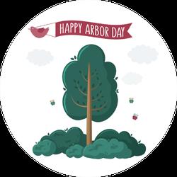 Happy Arbor Day Red Bird Holding Ribbon Sticker