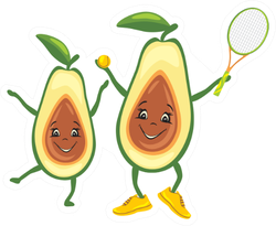 Happy Avocado Tennis Player With His Friend Sticker