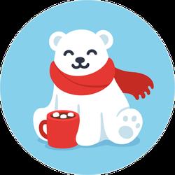 Happy Baby Polar Bear With Hot Chocolate Sticker
