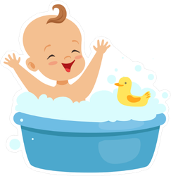 Happy Baby Taking A Bath Sticker