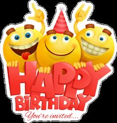 Happy Birthday Funny Emoji Sticker