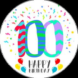 Happy Birthday Number 100 Sticker