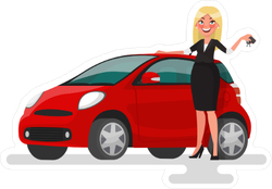 Happy Blonde Woman and Red Car Sticker