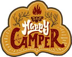 Happy Camper Hand Lettering Badge Sticker