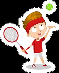 Happy Cartoon Child Throwing Green Tennis Ball Sticker