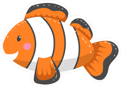 Happy Cartoon Clown Fish Sticker