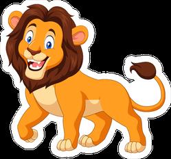 Happy Cartoon Lion Sticker