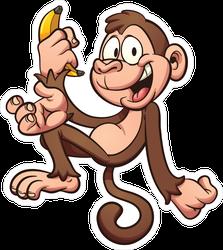 Happy Cartoon Monkey Holding A Banana Sticker
