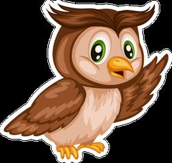 Happy Cartoon Owl Sticker