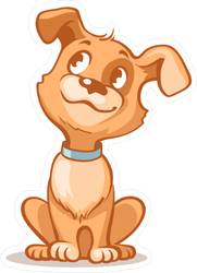Happy Cartoon Puppy Sitting Sticker