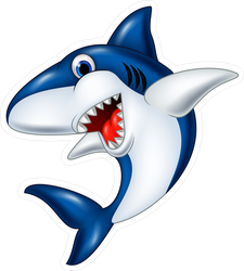 Happy Cartoon Smiling Shark Sticker