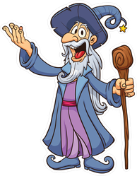 Happy Cartoon Wizard Sticker