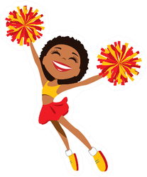 Happy Cheerleader In Red And Yellow Uniform Sticker