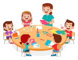 Happy Classroom With Teacher Cartoon Sticker