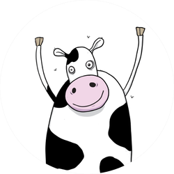 Happy Cow Cartoon Character Illustration Sticker