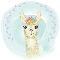 Happy Cute Little Llama Smiling Sticker