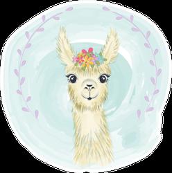 Happy Cute Little Llama Smiling Sticker