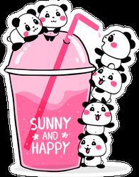 Happy Cute Pandas With A Slushy Drink Sticker