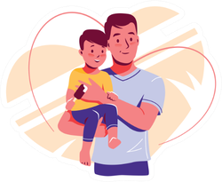 Happy Dad And Baby Son Father's Day Sticker