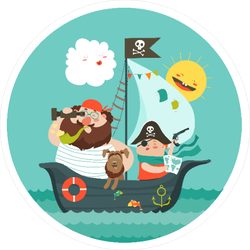 Happy Dad And Son Sailing on Pirate Ship Sticker