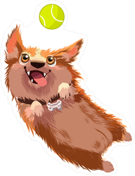 Happy Dog Jumping For Ball Sticker