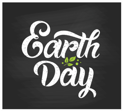 Happy Earth Day Black Handwritten Sticker