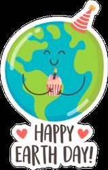 Happy Earth Day Cupcake Sticker