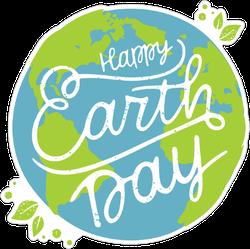 Happy Earth Day Cursive Sticker
