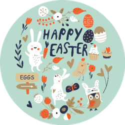 Happy Easter Card With Cute Bunnies On Green Sticker