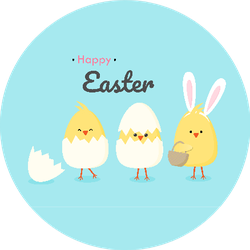 Happy Easter Chicks In Eggs Illustration On Blue Sticker