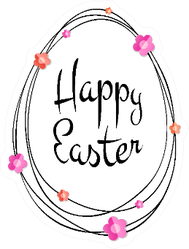 Happy Easter Egg Typographic Floral Sticker
