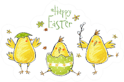 Happy Easter Greeting Card With Cute Chickens Easter Sticker