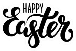 Happy Easter Hand Drawn Calligraphy Brush Pen Sticker