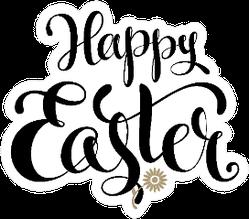 Happy Easter Lettering Flower Sticker