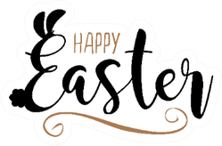 Happy Easter Lettering Illustration Ears And Tail Sticker